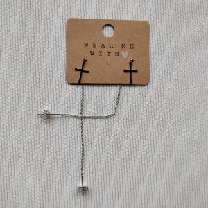 Zilveren kruis oorbellen 'Grace'