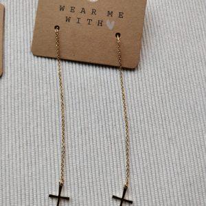 Gouden kruis oorbellen 'Esther'