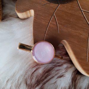 Haarclip goud + roze || love
