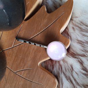 Zilveren haarspeld || roze | love