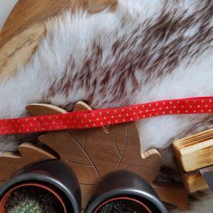 Haarband rood/goud stipjes