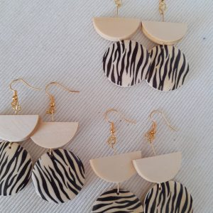 Zebra oorbellen (nikkelvrij)