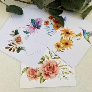 Combinatieset bloemenkaarten || set van 5