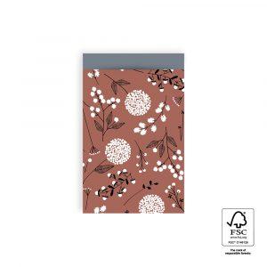 Cadeauzakjes || warm red flowers || 5 stuks