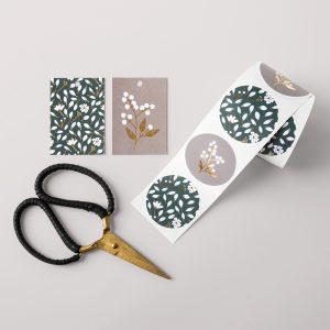 Stickers || Petrol Grey Bloemen || 10 stuks