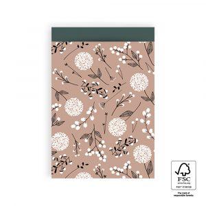 Cadeauzakjes || Flowers pink/petrol || 17x25cm || 4 stuks